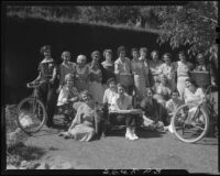 Women at bicycle-themed party, Santa Monica, [between 1933 and 1939?]