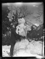 Woman with snowman, Mount Baldy, 1928
