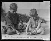 Boys playing marbles, Los Angeles, circa 1935