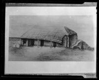 Photograph of 1890s drawing of Ysidro Reyes adobe, Santa Monica, 1939