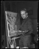 Wilson Silsby in studio, with easel, brush, palette, and painting, Los Angeles, 1927