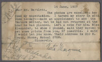 Typewritten note from author Neeta Marquis to Adelbert Bartlett, about photos and story about Los Angeles artists, 1927