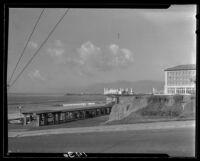 View from Blicknell Avenue towards the pergola, Hotel Casa Del Mar and pier, Santa Monica, 1927