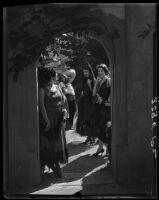 Women in Spanish-style dress, Harry Gorham residence, Santa Monica, 1928