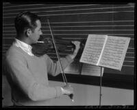 Violin student at Los Angeles City College, Los Angeles, 1931