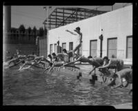 Swimmers at Los Angeles City College, Los Angeles, circa 1933-1938
