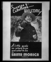 Tourist guide to Santa Monica, cover, featuring actor Leo Carrillo, 1934