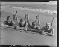 Young women posing on beach, Pacific Palisades, 1927
