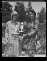 Women with trophy, Lake Arrowhead, 1929