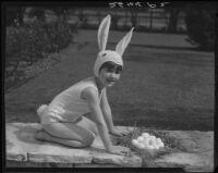 Barbara Jo Cozzens dressed as Easter bunny, Santa Monica, 1934