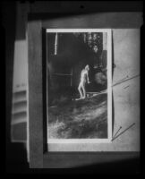 Photograph of print of woman in bathing suit, [1920-1939?]