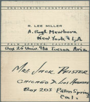 Annotated business card of Palm Springs artist and architect R. Lee Miller