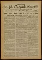 Deutsches Nachrichtenbüro. 5 Jahrg., Nr. 555, 1938 April 4, Erste Abend-Ausgabe
