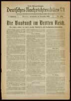 Deutsches Nachrichtenbüro. 5 Jahrg., Nr. 2031, 1938 December 10, Dritte Mittags-Ausgabe