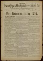 """Deutsches Nachrichtenbüro. 5 Jahrg., 1938 September 5, Sonder-Ausgabe Nr. 1: """"Der Reichsparteitag 1938"""""""