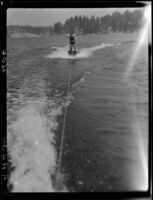 Young men aquaplaning, Lake Arrowhead, 1929