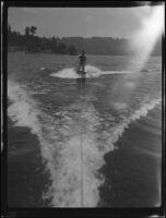 Young men aquaplaning, Lake Arrowhead, 1929