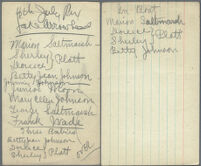 Handwritten note listing subjects of 4th of July photographs, Lake Arrowhead