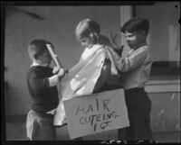 Children playing barber, Los Angeles, circa 1935