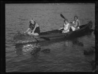 Women and girl in canoe, Lake Arrowhead, 1929