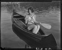 Young woman in canoe, Lake Arrowhead, 1929
