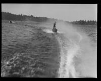 Young woman aquaplaning, Lake Arrowhead, 1929