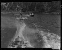 Young woman aquaplaning, Lake Arrowhead, 1929