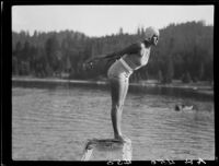 Young woman diving, Lake Arrowhead, 1929