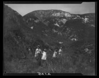 Women and girls on hillside near Magic Mountain, Ventura County, 1930