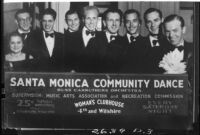 Montage photograph of Russ Carruthers Orchestra and billboard announcing community dance, Santa Monica, 1934