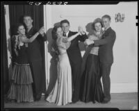 Three couples dancing at community dance, Santa Monica, 1934