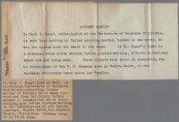 Typewritten captions describing photograph of Carl S. Knopf and Indian artifacts, Malibu, 1929