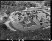 Miniature scenes in Oriental garden, Bernheimer Gardens, Pacific Palisades, 1927-1940