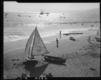 View of Santa Monica beach during Regatta Week, Santa Monica, 1934