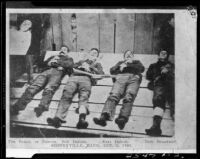 Bodies of Dalton Gang members, Coffeyville, Kansas, photographed 1892, printed with caption, rephotographed 1931