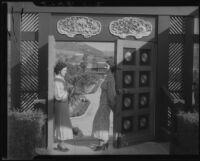 Women in doorway of Adolph L. Bernheimer residence, Bernheimer Garden, Pacific Palisades, 1927-1940