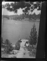 Dock, boats, and lake, Lake Arrowhead, 1929