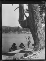 Young woman on swing, Lake Arrowhead, 1929