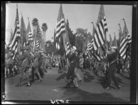 Color guard in Rose Parade, Pasadena, [1927-1939?]