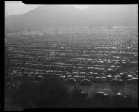 Bird's-eye view of parked cars at Tournament of Roses, Pasadena, [1940-1950]
