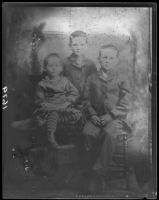 Childhood photograph of Herbert Hoover, with his sister Mary and brother Theodore, West Branch, Iowa, [1881-1884], rephotographed Santa Monica, 1928