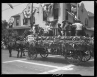 Wagon with dancers, Santa Monica Pioneer Days parade, Santa Monica, 1930 or 1931