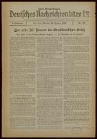 Deutsches Nachrichtenbüro. 6 Jahrg., Nr. 158, 1939 January 30, Zweite Mittags-Ausgabe