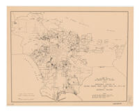Map of the southern portion of Los Angeles County, California, showing approximate location of building permits issued during period June 1-Dec. 31, 1936 for residential buildings
