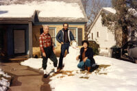 The Huerta family on a snowy day in Texas