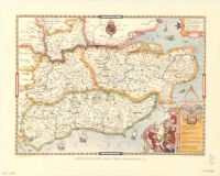 Saxton's map of Kent, Sussex, Surrey, and Middlesex, 1575