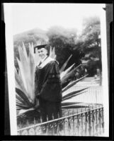 Dr. Leonard Siever in a graduation cap and gown, [1917?]