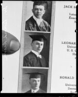 Photograph of Leonard Siever on a page from the graduation program for the University of Southern California, College of Dentistry, 1917