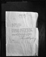 Letter written to Dr. Leonard Siever from Frank B. Fagerburg, 1933