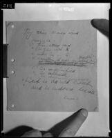 Handwritten whimsical note by Dr. Leonard Siever, 1933
